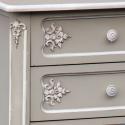 Charmont Gris Grey Five Drawer Bedside Cabinet
