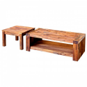 Acacia Wooden Coffee & Lamp Table Set