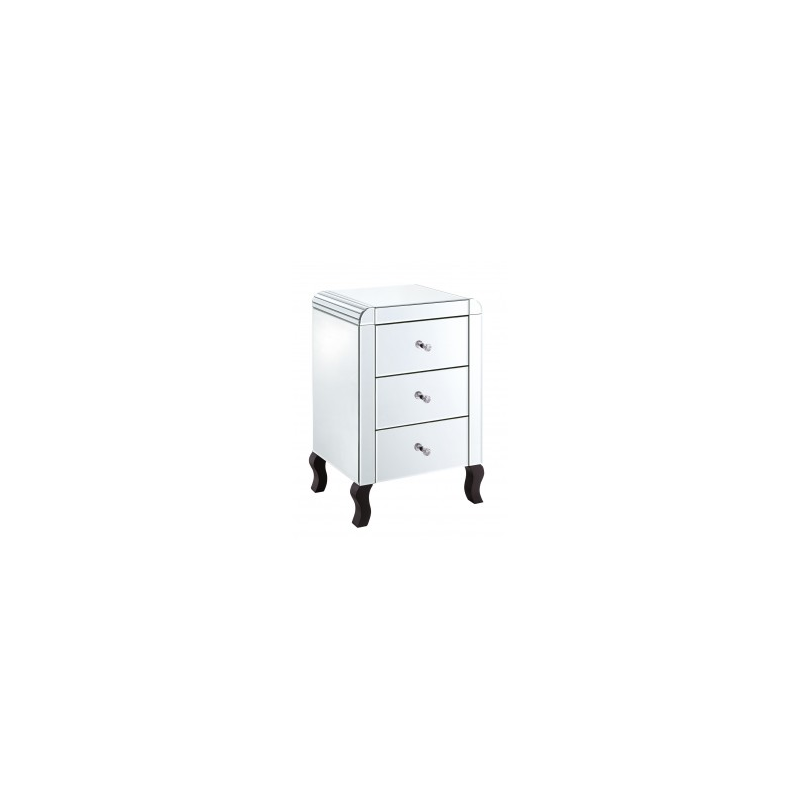 Mirrored 3 drawer bedside cabinet for Mirror bedside cabinets