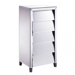 Slanted Mirrored Tallboy Chest of Drawers