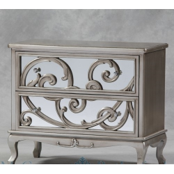 Large Mirror Fronted Rococo Chest of Drawers - Antique Silver