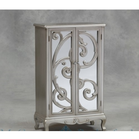 Double Cupboard Rococo Cabinet - Antique Silver - Forever Furnishings