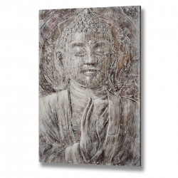 Copper Toned Buddha Oil Painting