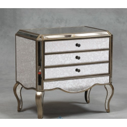 Large Silver Egded Antiqued Glass Chest of Drawers