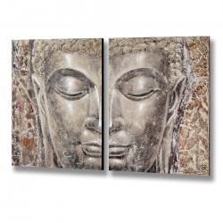 Two Piece Silver Buddha Head