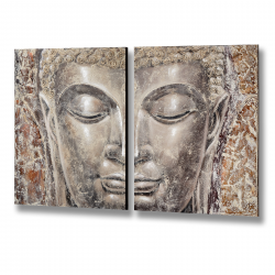 Two Piece Silver Buddha Head
