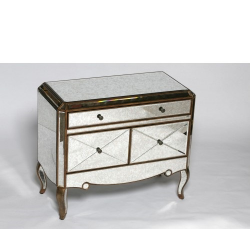 Gold Edged Antiqued Glass Side Cabinet