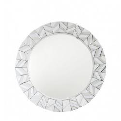 White Manhattan Tiled Round Wall Mirror