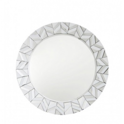 White Manhattan Tiled Round Wall Mirror