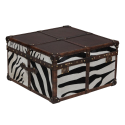 Square Leather & Hide Zebra Coffee Table Trunk