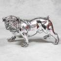Large Silver Effect Bulldog Figure with Diamonte Collar