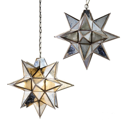 Antique Silver Large Star Pendant Chandelier with Antique Glass