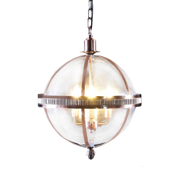Large Brass and Glass Round Ball Lantern Chandelier