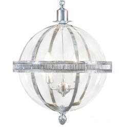 Chrome and Glass Round Ball Lantern Chandelier
