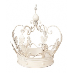Extra Large Antique White Decorative Iron Crown