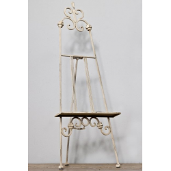 Small Antiqued White Metal Table Easel