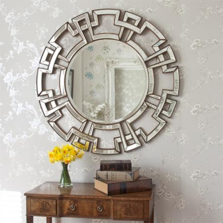 Large Round Gold Venetian Aztec Mirror