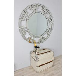Large Round Champagne Silver Venetian Aztec Mirror