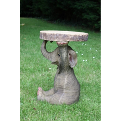 "Elephant Holding ""Trunk Slice"" Side Table"