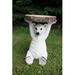 "Polar Bear Holding ""Trunk Slice"" Side Table"