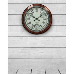 "Vintage Copper with White Face ""London"" Multi Dial Wall Clock"