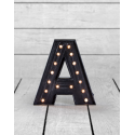 "Marquee Antiqued Black Wooden ""A"" Light Letter"