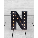 "Marquee Antiqued Black Wooden ""N"" Light Letter"