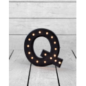 "Marquee Antiqued Black Wooden ""Q"" Light Letter"