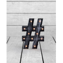 Marquee Antiqued Black Wooden HashTag Light