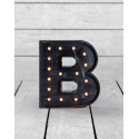 "Marquee Antiqued Black Wooden ""B"" Light Letter"