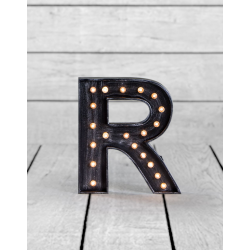 "Marquee Antiqued Black Wooden ""R"" Light Letter"