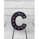 "Marquee Antiqued Black Wooden ""C"" Light Letter"
