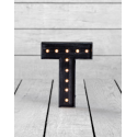 "Marquee Antiqued Black Wooden ""T"" Light Letter"