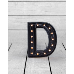 "Marquee Antiqued Black Wooden ""D"" Light Letter"