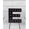 "Marquee Antiqued Black Wooden ""E"" Light Letter"