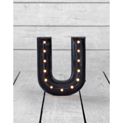 "Marquee Antiqued Black Wooden ""U"" Light Letter"