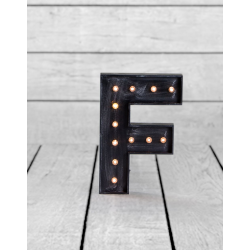 "Marquee Antiqued Black Wooden ""F"" Light Letter"