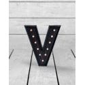 """Marquee Antiqued Black Wooden """"V"""" Light Letter"""
