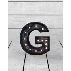 "Marquee Antiqued Black Wooden ""G"" Light Letter"