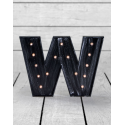 "Marquee Antiqued Black Wooden ""W"" Light Letter"