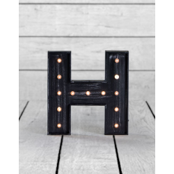 "Marquee Antiqued Black Wooden ""H"" Light Letter"
