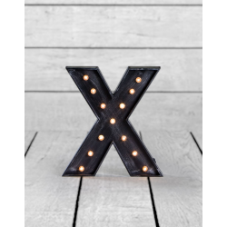 "Marquee Antiqued Black Wooden ""X"" Light Letter"