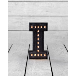 "Marquee Antiqued Black Wooden ""I"" Light Letter"