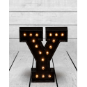 "Marquee Antiqued Black Wooden ""Y"" Light Letter"