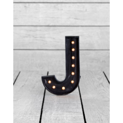 "Marquee Antiqued Black Wooden ""J"" Light Letter"