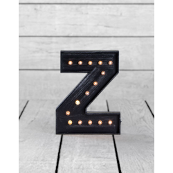 "Marquee Antiqued Black Wooden ""Z"" Light Letter"