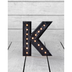"Marquee Antiqued Black Wooden ""K"" Light Letter"
