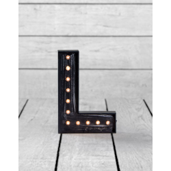 "Marquee Antiqued Black Wooden ""L"" Light Letter"