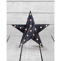 "Marquee Antiqued Black Wooden ""Star"" Light"