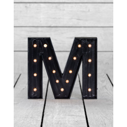 "Marquee Antiqued Black Wooden ""M"" Light Letter"